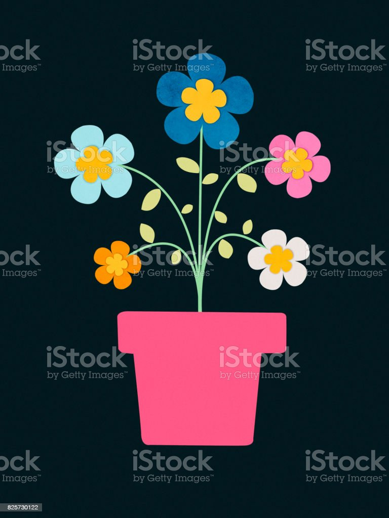 Flowers In Vase Paper Cutting Style Stock Photo More Pictures Of