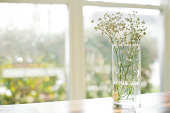 Flowers in watered vase sit on wooden table in front of windows.