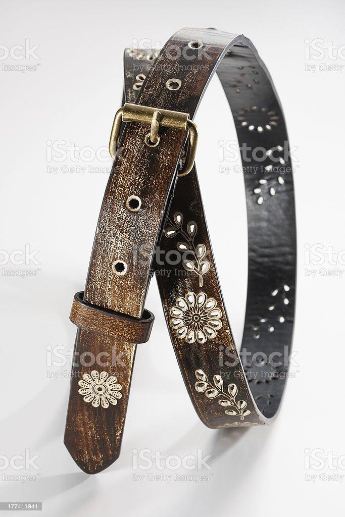 Flowers Leather Belt stock photo