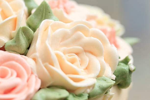 Flowers Made From Cream On Wedding Or Birthday Cake