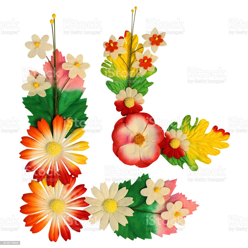 Flowers Made Of Colorful Paper Used For Decoration Isolated Stock