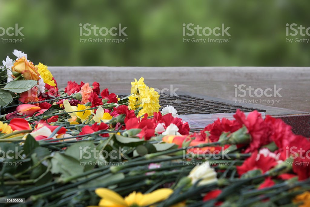 flowers memorial. 9 may, day of victory, memory  heroes stock photo