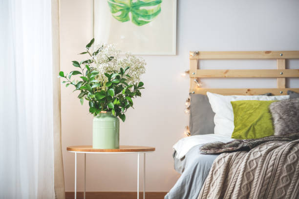 flowers next to bed - cue ball stock pictures, royalty-free photos & images