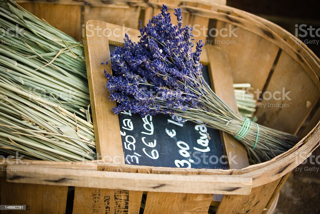 Flowers of lavender in the wicker basket royalty-free stock photo