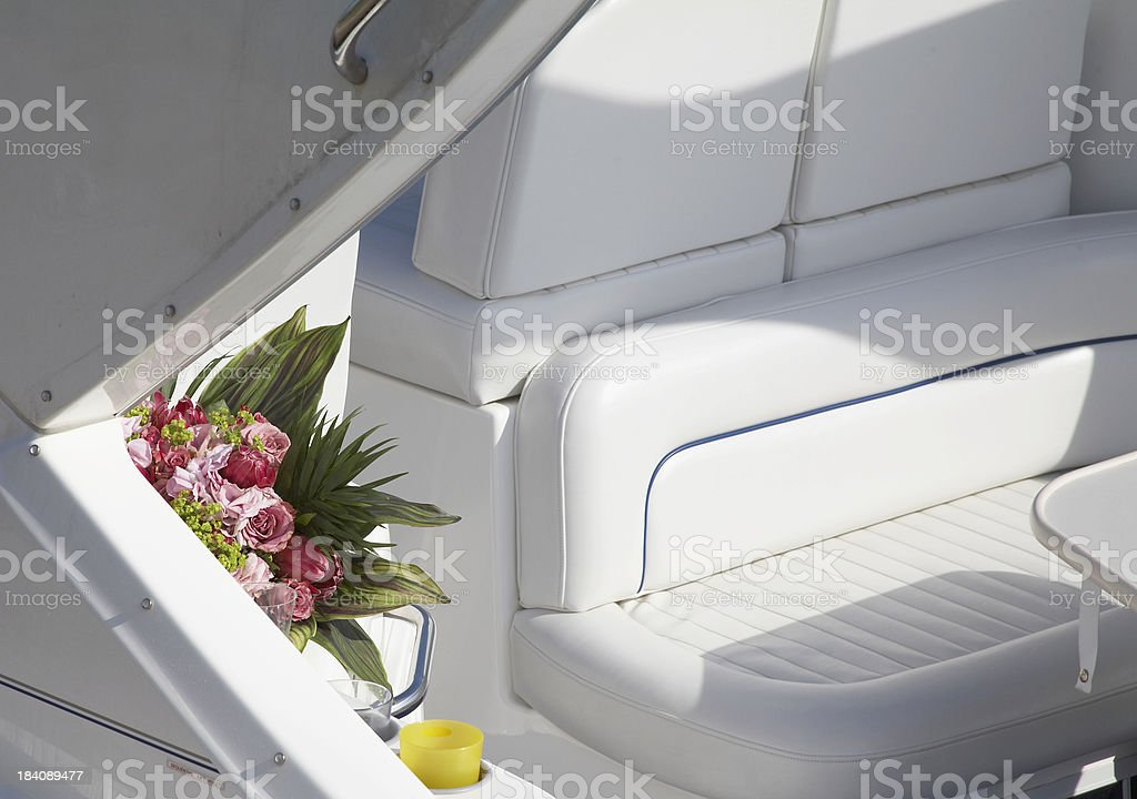 Flowers on a boat stock photo