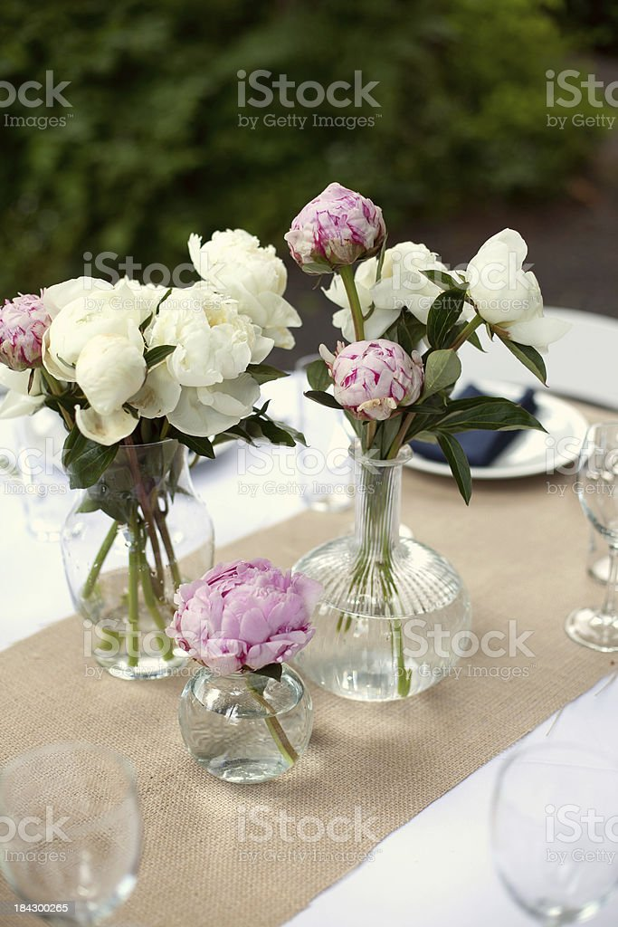 Flowers on a fancy table stock photo