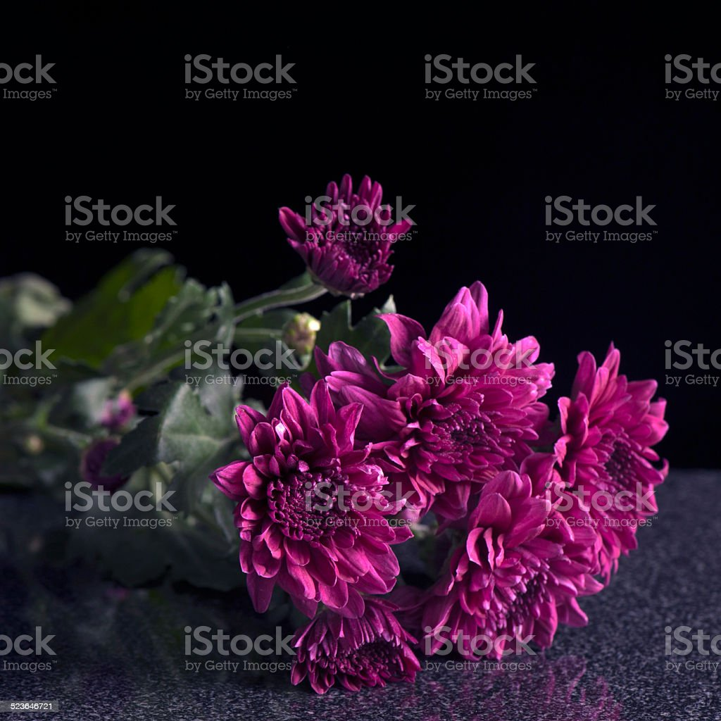 Flowers on a granite surface stock photo