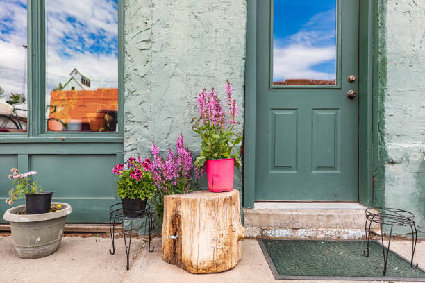 Flowers on a stump in a small town in the Palouse hills. stock photo