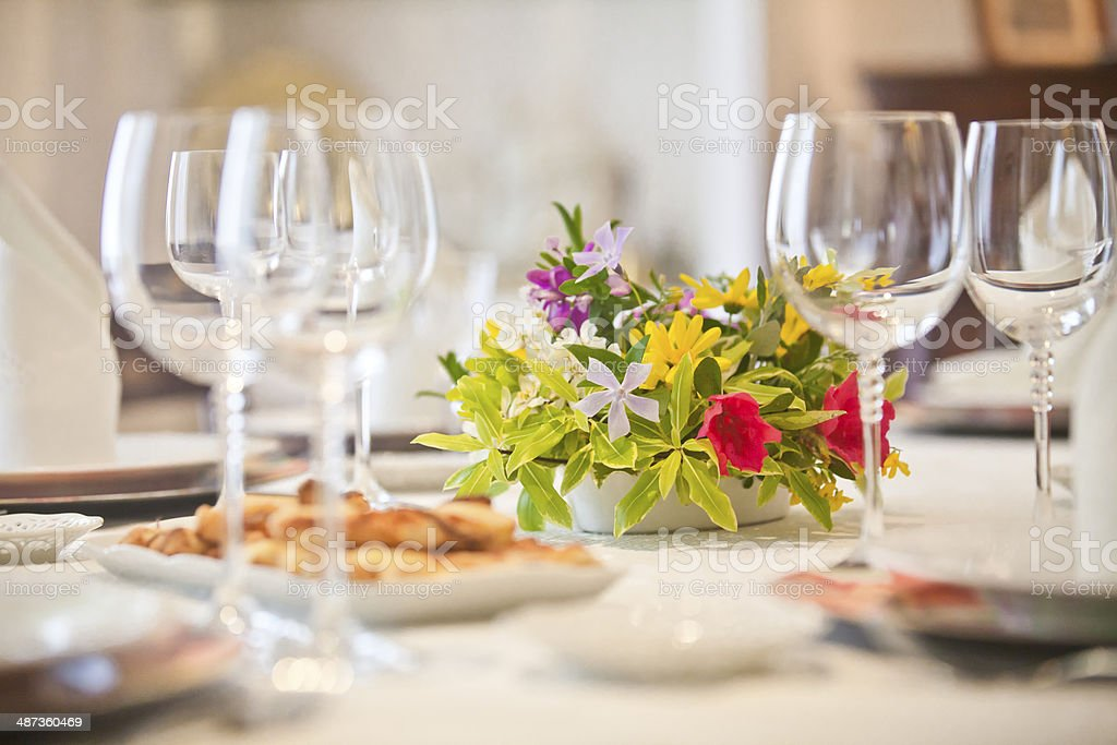 flowers on an elegant table stock photo