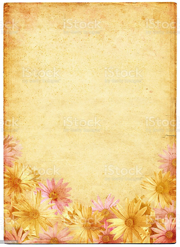Flowers on Ancient Paper royalty-free stock photo