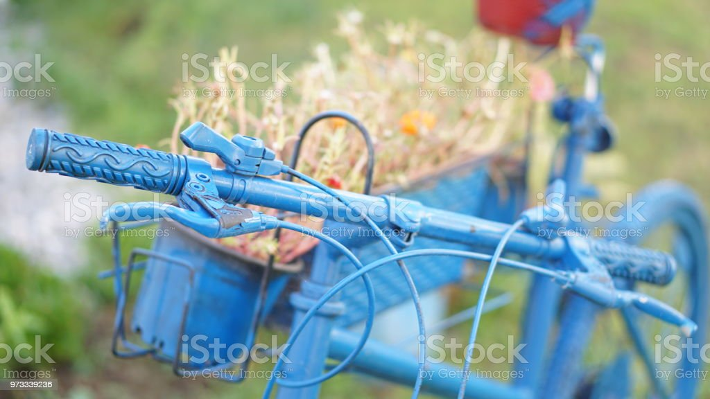 flowers on blue bicycle standing in the garden стоковое фото
