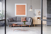 Flowers on copper table in front of grey couch in living room interior with rose gold poster. Real photo