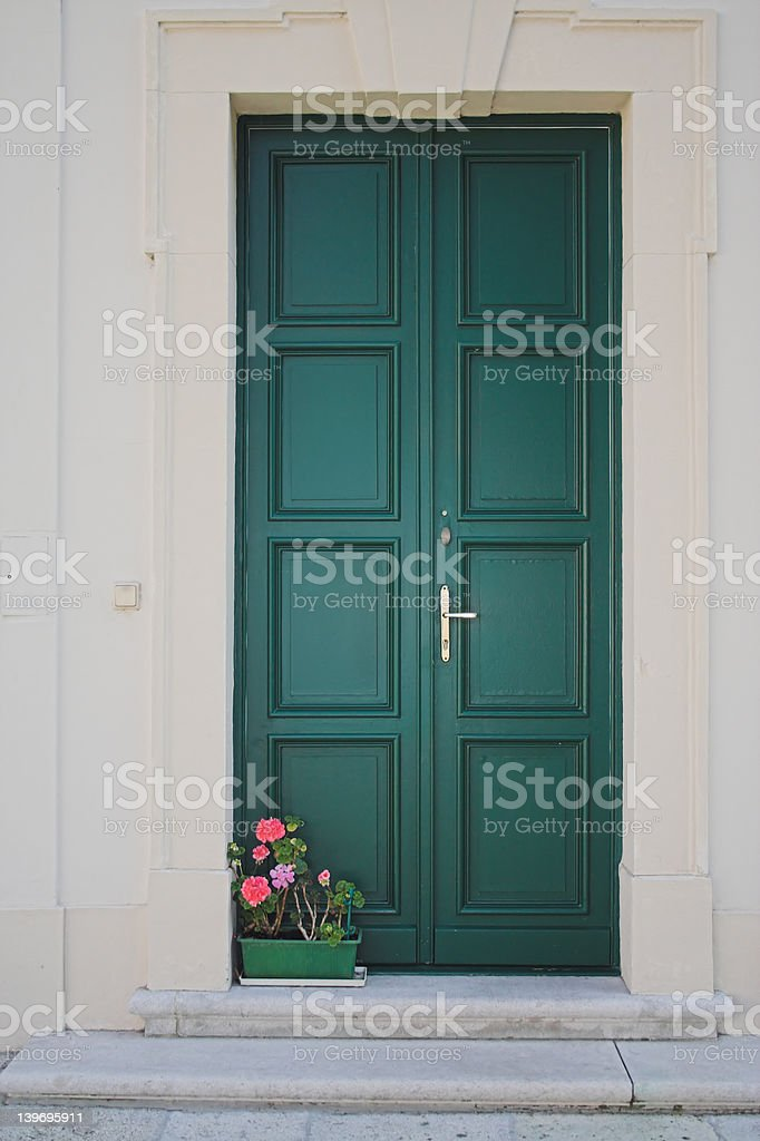 Flowers on doorstep royalty-free stock photo