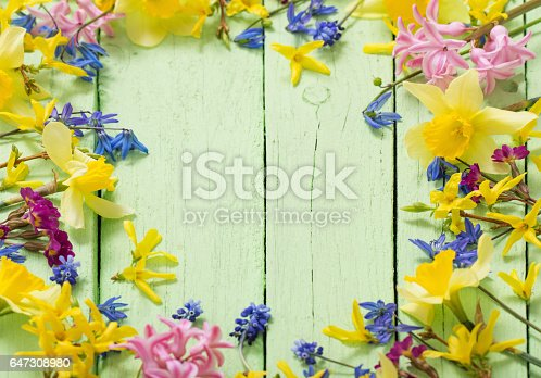 istock flowers on green wooden background 647308980
