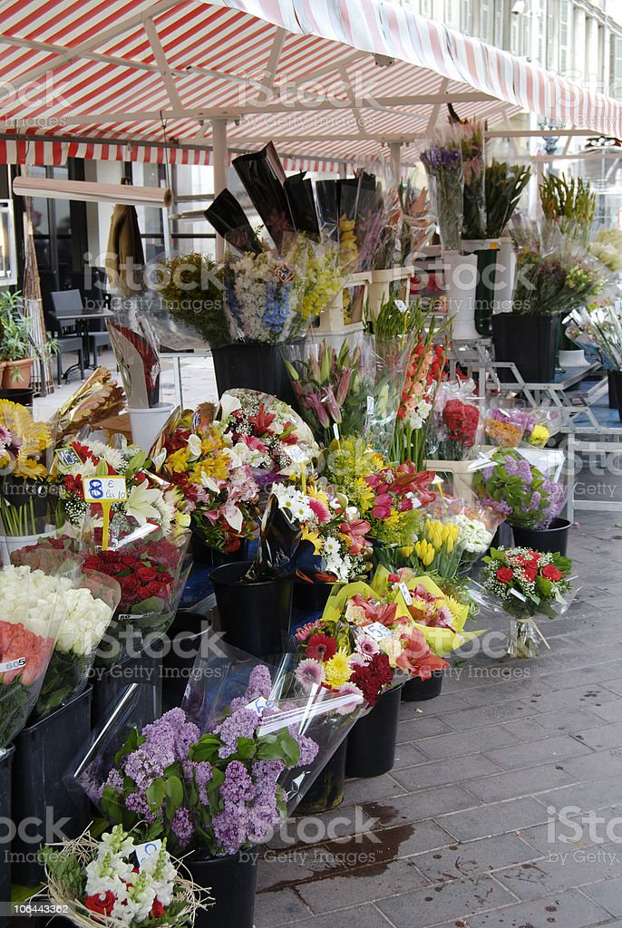 Flowers on market stall. Nice. France stock photo