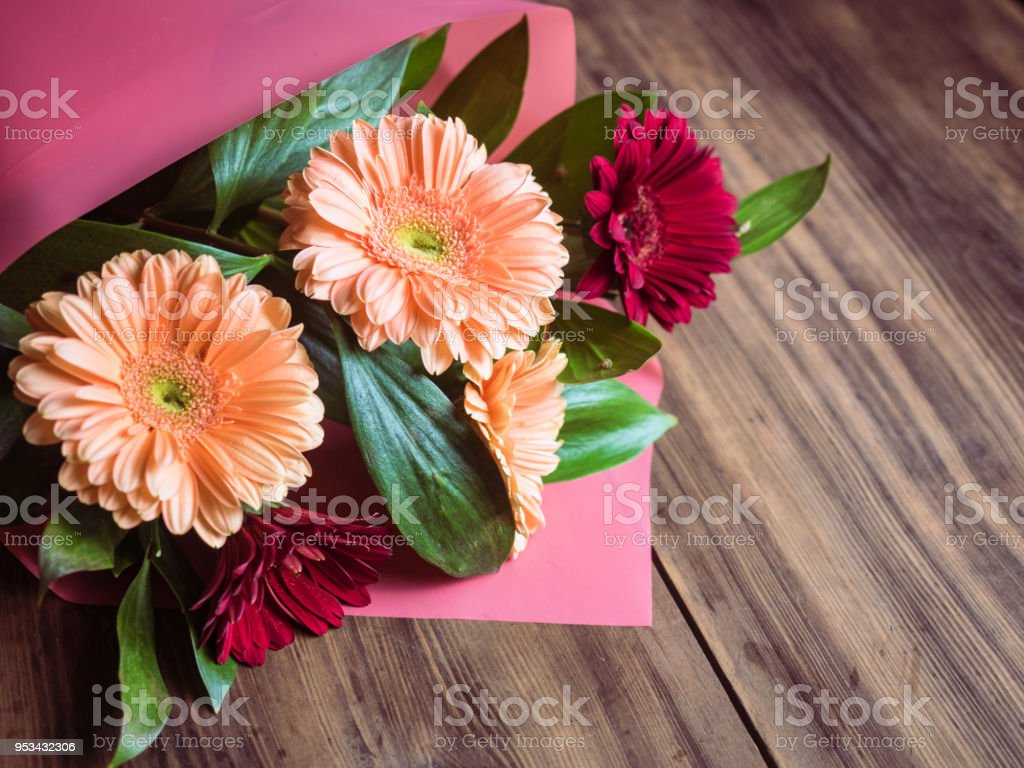 Flowers On Old Wooden Background Bouquet Of Bridal Wedding Flowers