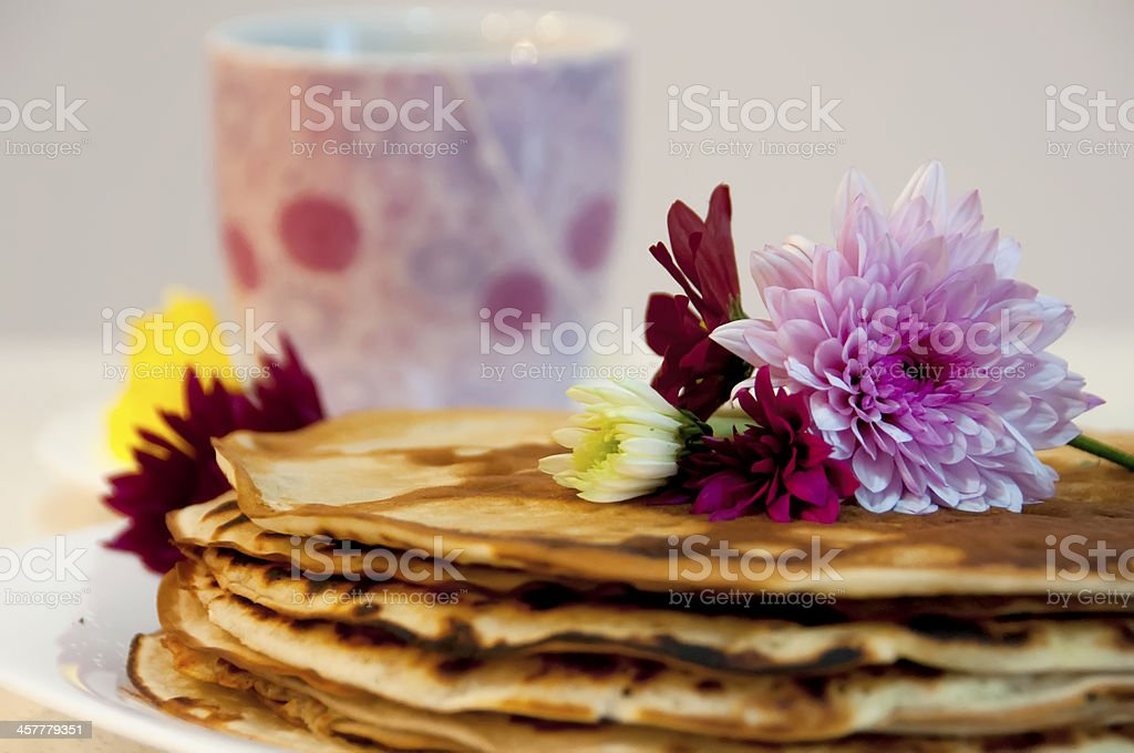 Flowers on pancakes royalty-free stock photo