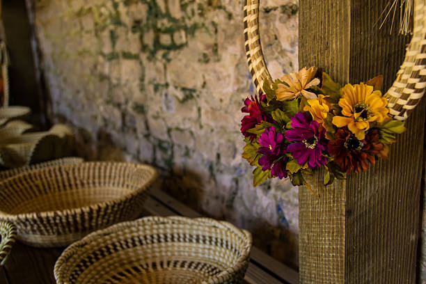 Flowers on Sweetgrass Ring stock photo