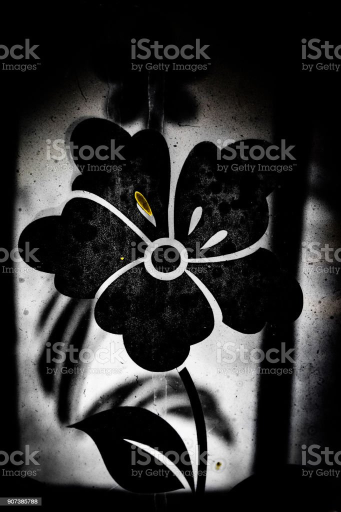 Flowers on the oil lamp stock photo