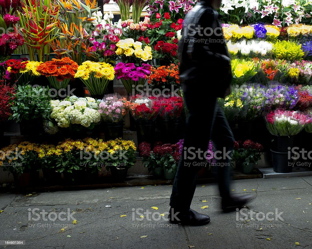 Flowers on the street stock photo
