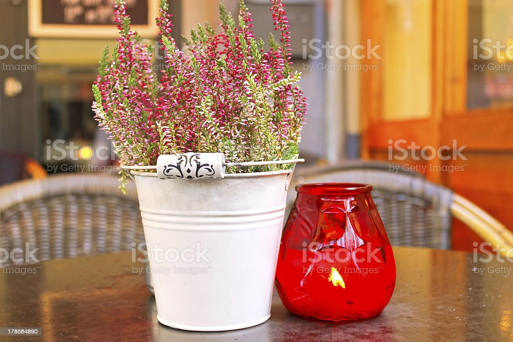Flowers on the table in a cafe royalty-free stock photo