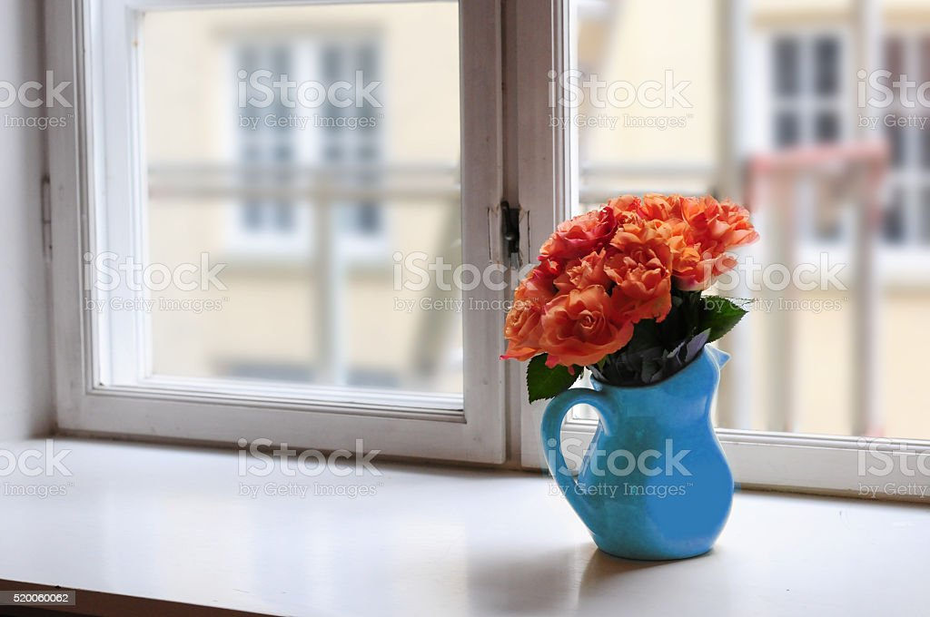 Flowers On The Window Sill Stock Photo