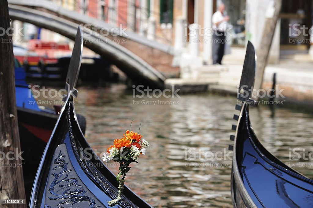 Flowers on top of gondola royalty-free stock photo