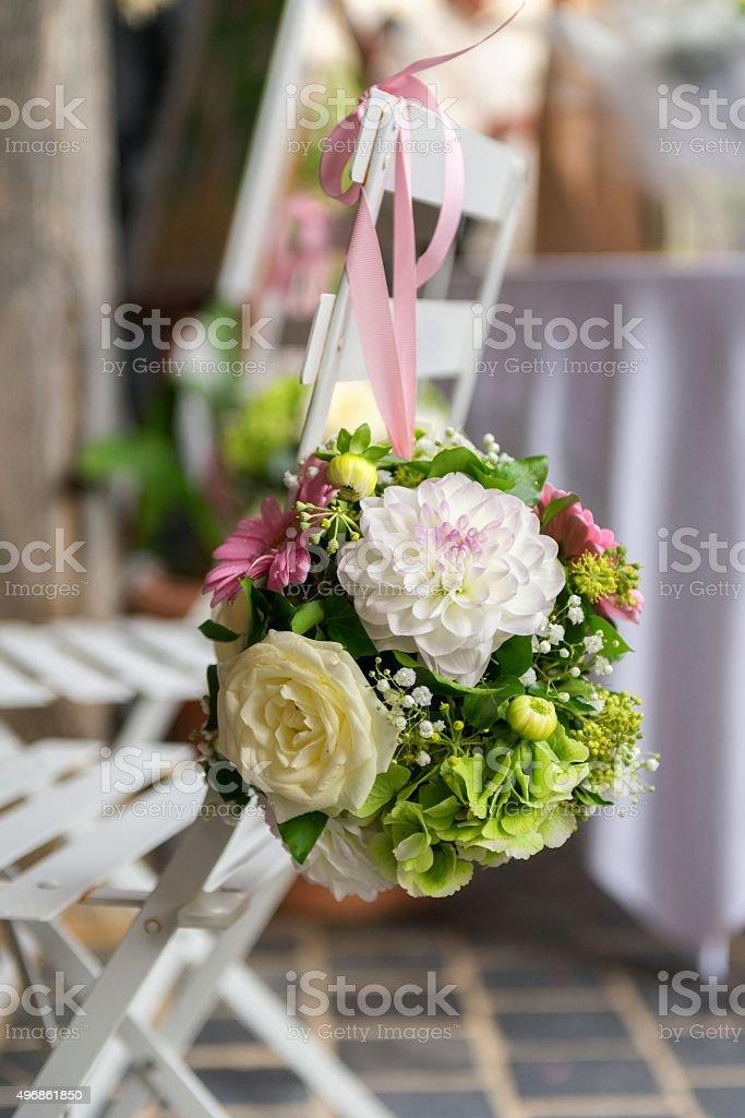 Flowers on wedding day stock photo