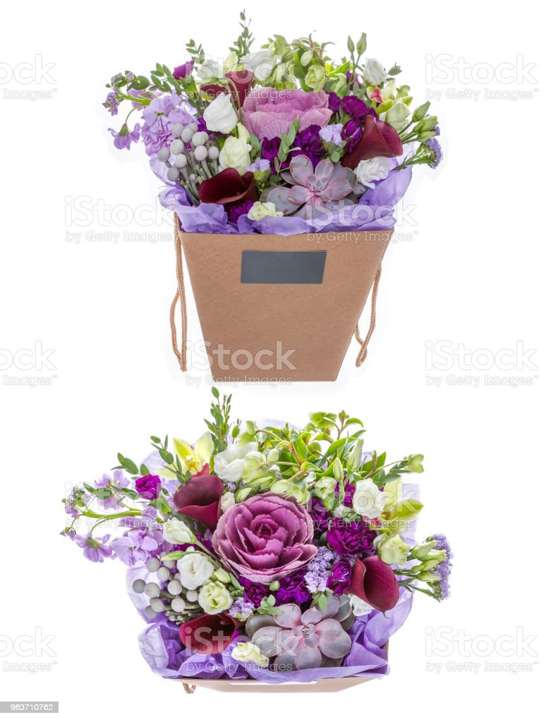 Flowers On White Background Stock Photo More Pictures Of Basket