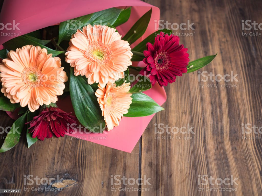 Flowers On Wooden Background Bridal Bouquet Wedding Flowers Closeup