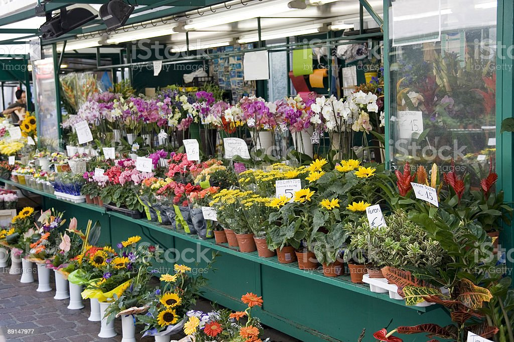 Flowers Open Market stock photo