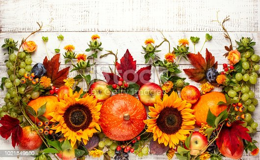 Thanksgiving background with autumn pumpkins, fruits and fall leaves on wooden table. Top view, autumn concept with copy space.