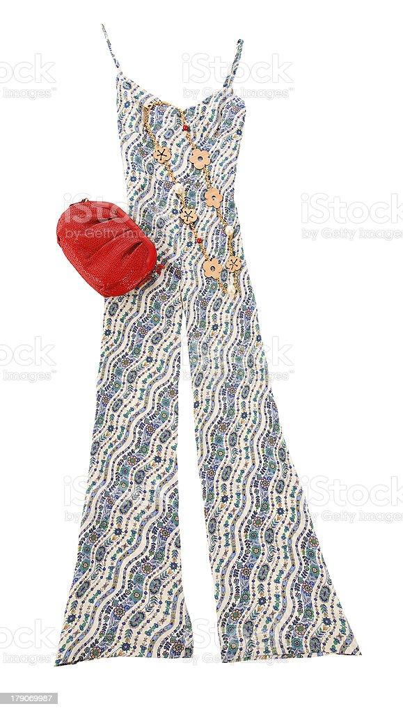 Flowers print jumpsuit fashion composition stock photo