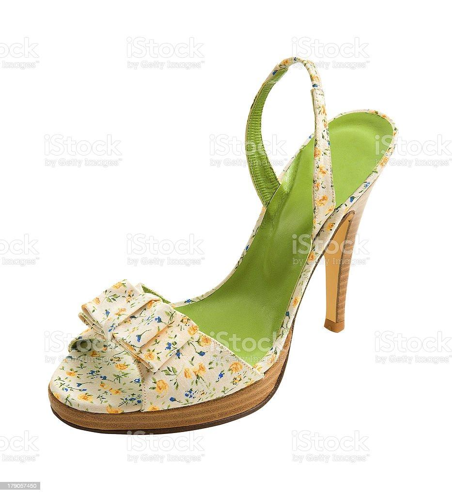 67df370f Flores imprimir zapato abierto por delante tacón de aguja foto de stock  libre de derechos