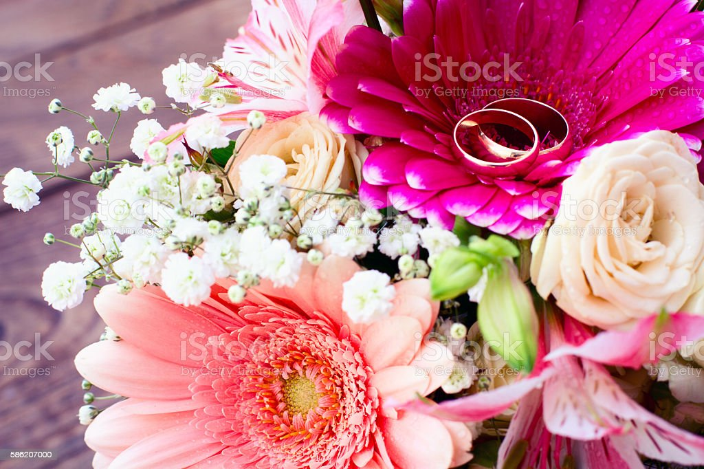 Flowers rose on wooden surface. stock photo
