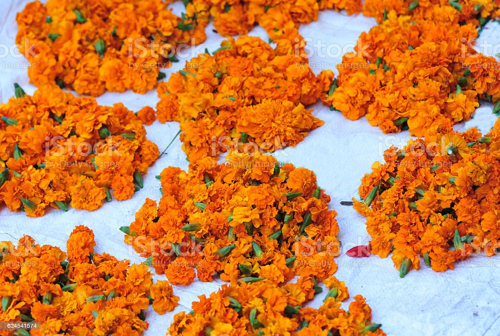 flowers selling at market in nepal stock photo