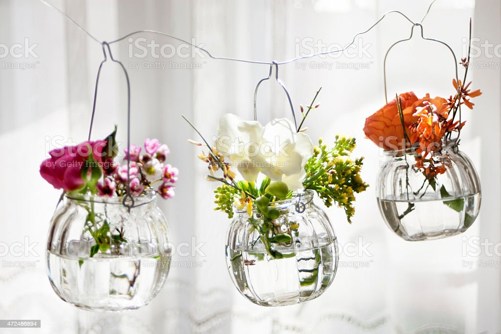 flowers spring summer hanging beautiful setting mood smell fresh stock photo
