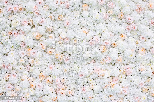 Flowers wall background with white and light orange roses. Wedding decoration, hand made