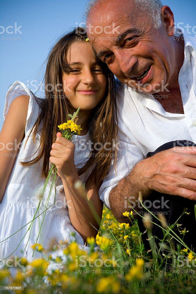 Flowers with grandfather - Royalty-free Active Seniors Stock Photo