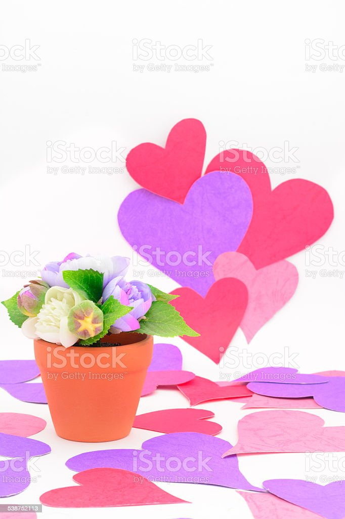 Flowers with love hearts stock photo