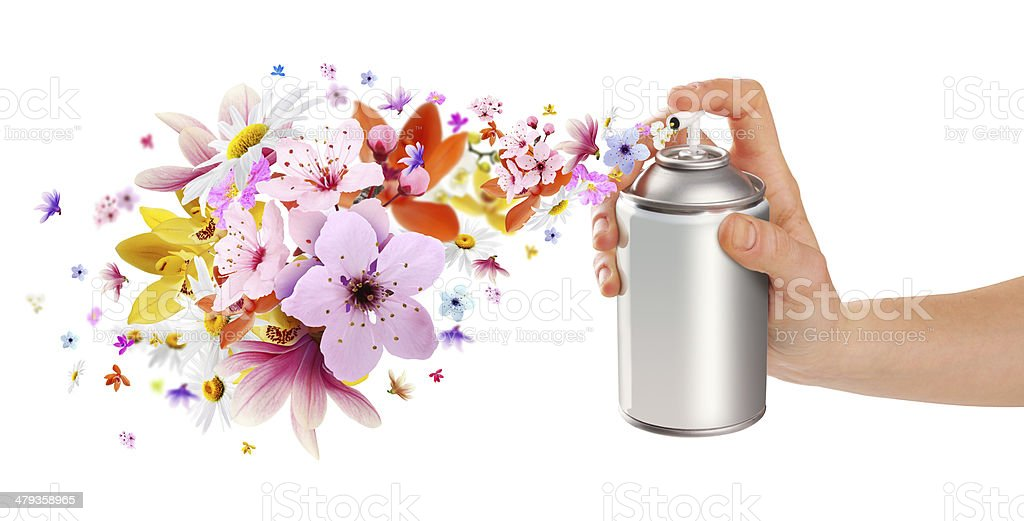 Flower-scented room sprays and flowers from inside stock photo