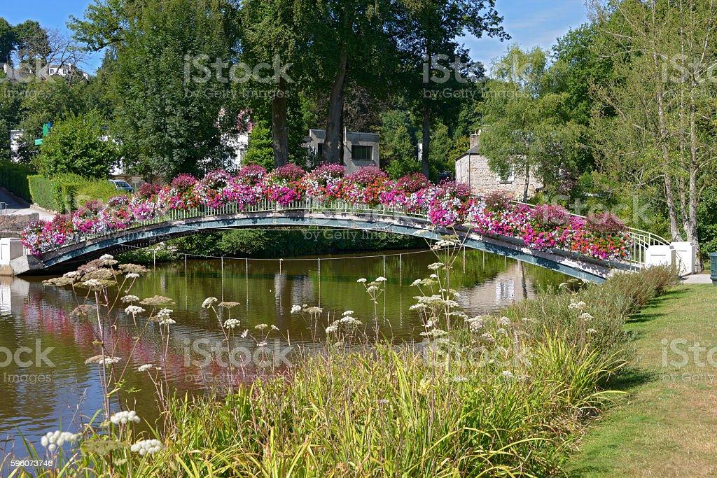 Flowery bridge at Bagnoles-de-l'Orne stock photo
