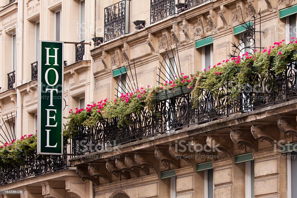 Flowery hotel on Paris, France stock photo