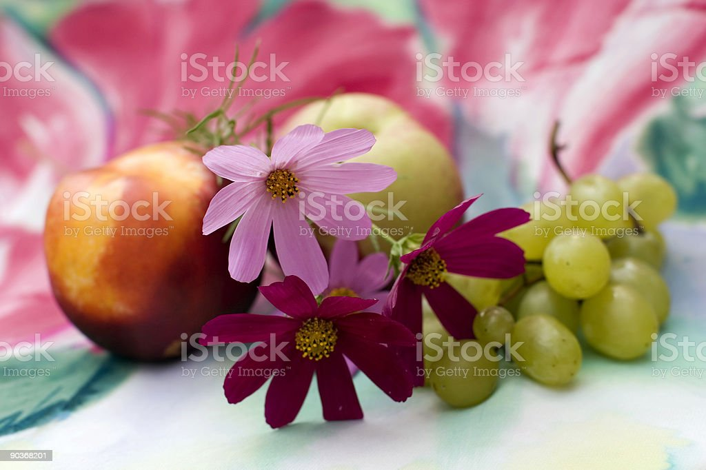 flowes, grapes & peach royalty-free stock photo