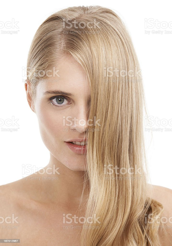 Flowing blond locks royalty-free stock photo