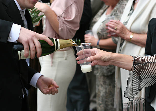 Flowing Champagne stock photo