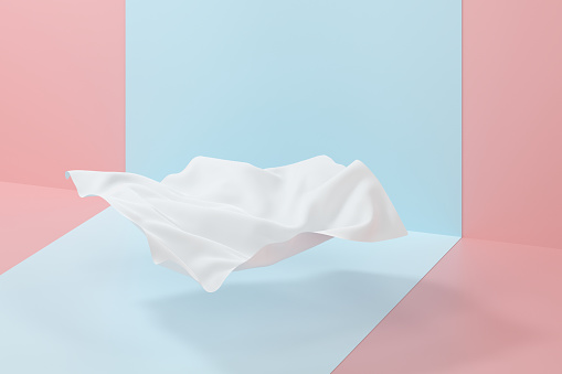Flowing cloth, abstract color background, 3d rendering.