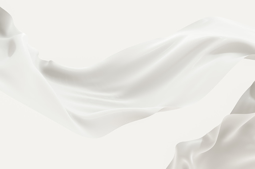 Flowing cloth, white color background, 3d rendering.