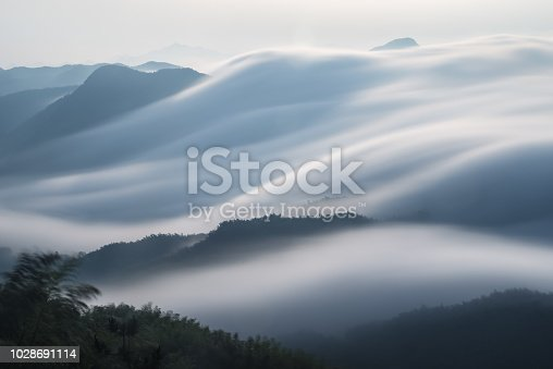 flowing clouds closeup on mountains, spectacular clouds from waterfalls,long time exposure