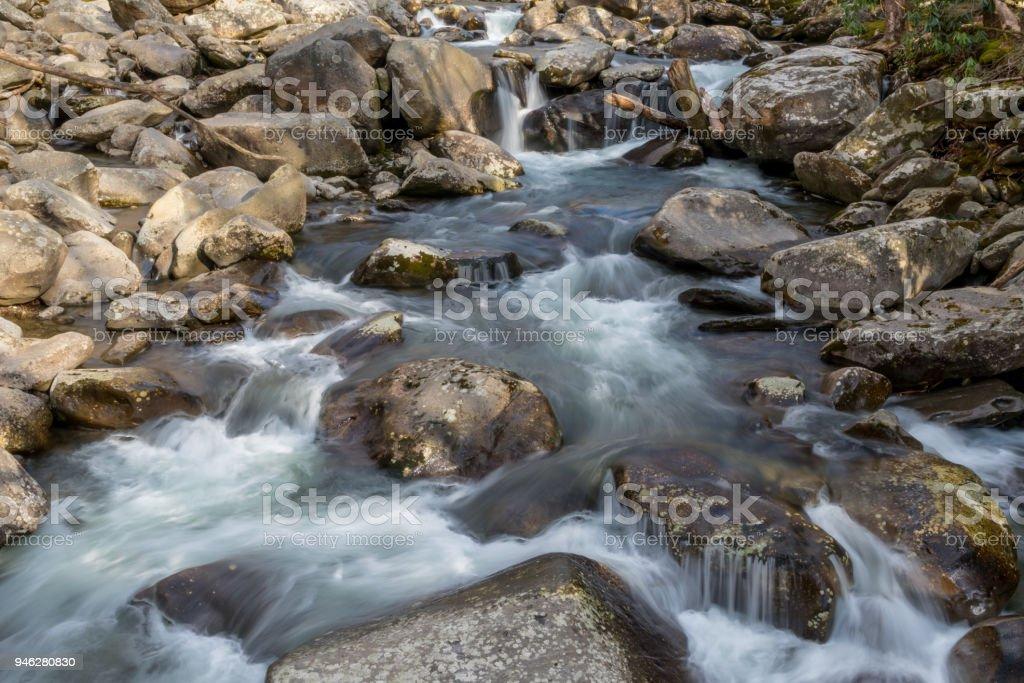 Flowing Creek in The Smokies stock photo